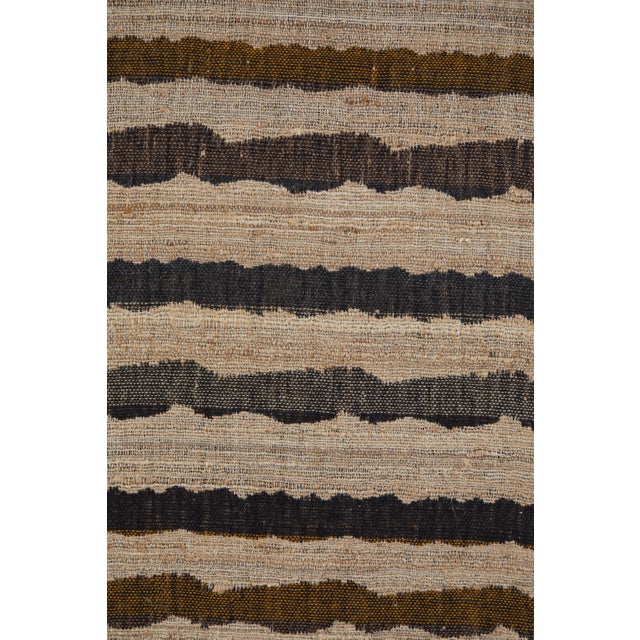 2000 - 2009 Indian Handwoven Throw Ocean Stripe For Sale - Image 5 of 6
