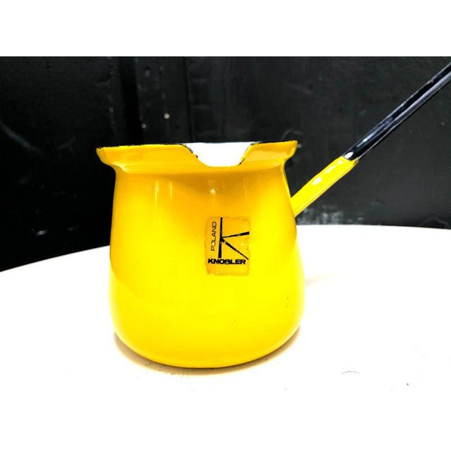 Mid-Century Modern 1960s Knobler Poland Yellow Enamel Pitcher Scool For Sale - Image 3 of 7