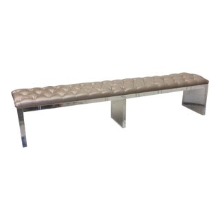 Monumental Leather Tufted Lucite Bench For Sale