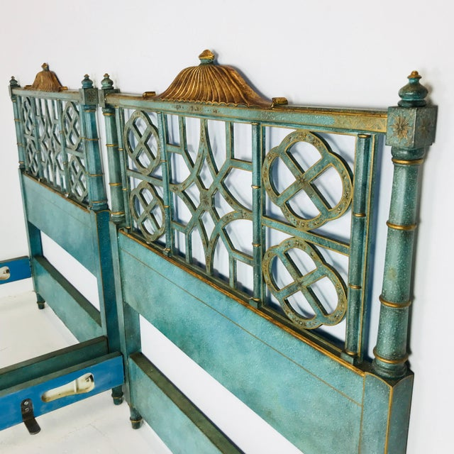 Wood Pair of Twin Chinoiserie Pagoda Beds by Kittinger For Sale - Image 7 of 12
