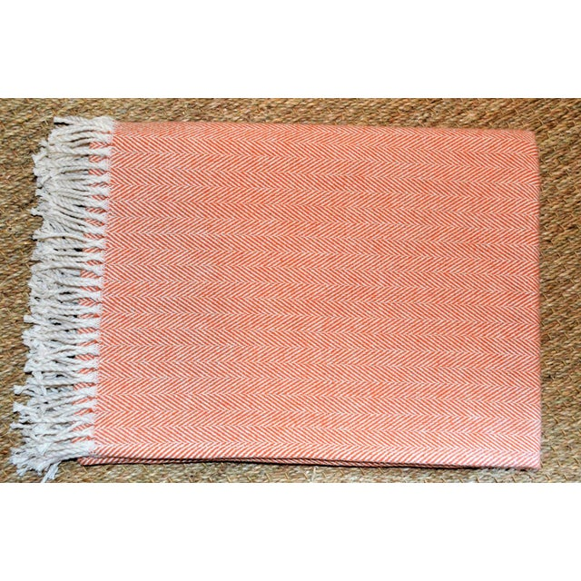 2010s Italian Apricot and Cream Cotton Throw Blanket For Sale - Image 5 of 9