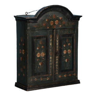 19th Century Antique Swedish Original Hand-Painted Hanging Cupboard For Sale