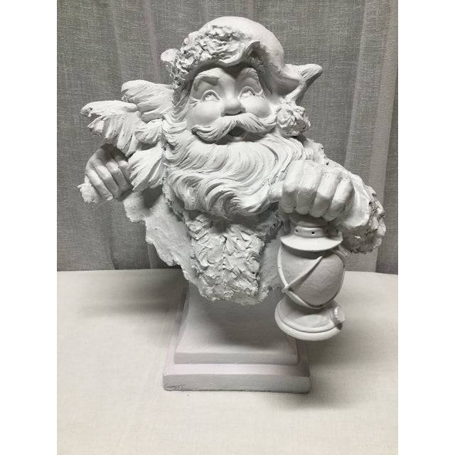 Mid 20th Century Vintage Santa Carrying Lantern and Christmas Tree Statue or Bust For Sale - Image 5 of 5