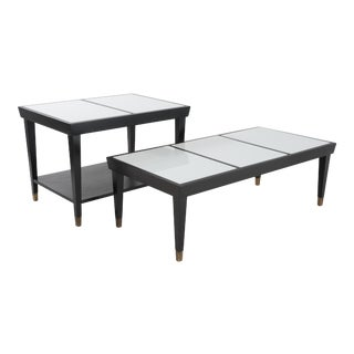 Mid Century Modern White Vitrolite Glass Panel Top Side and Coffee Table Set - 2 Pieces For Sale