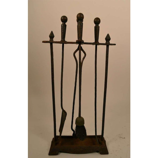 Brown Five Piece Arts & Crafts Fireplace Tool Set For Sale - Image 8 of 9