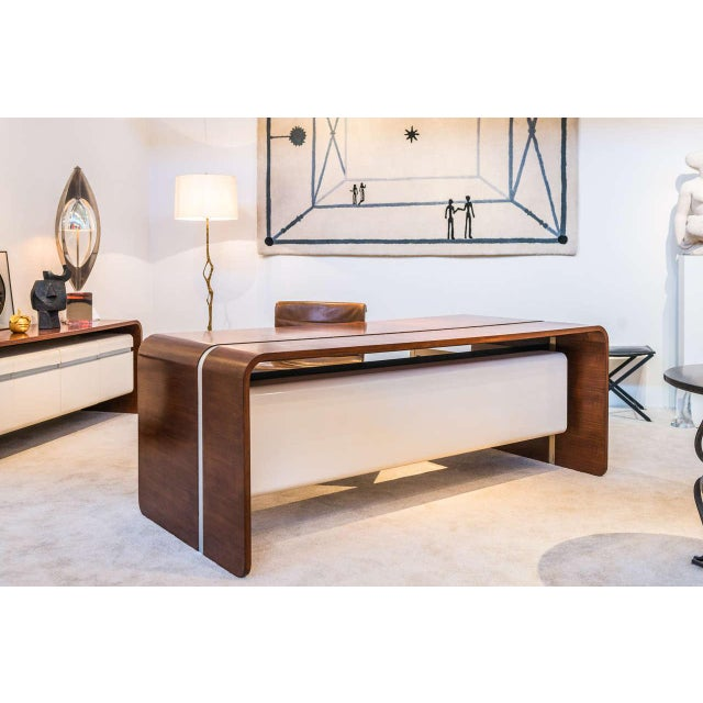 White Michel Boyer Walnut and Formica Waterfall Desk For Sale - Image 8 of 11