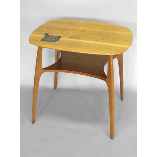 Edward Wormley for Dunbar Occasional Table With Tiffany Tile For Sale In Detroit - Image 6 of 7