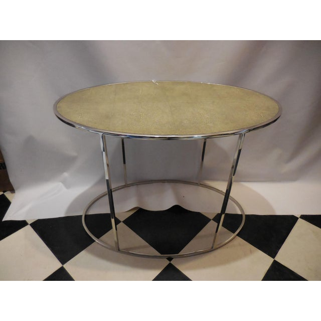 Contemporary Oval Side Table with Chrome and Shagreen Top. In excellent condition.