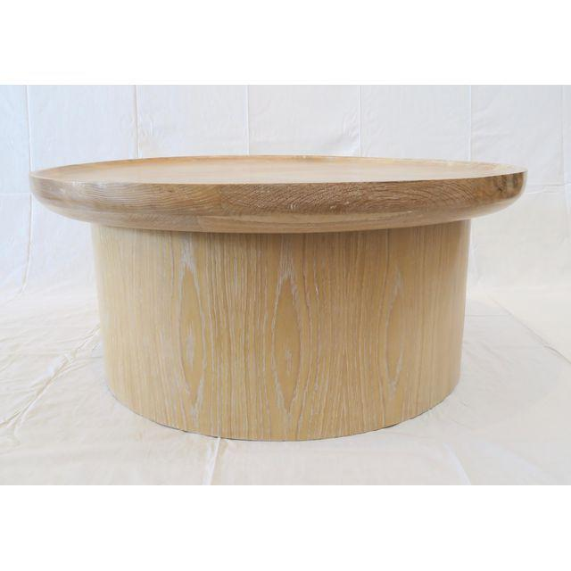 Modern Round Coffee Table In Cerused Oak By Martin And Brockett