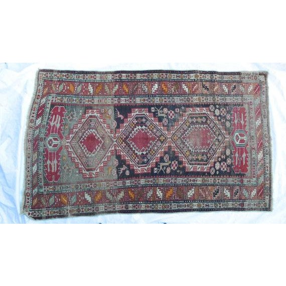 Antique Worn Geometric Tribal Rug - 3′6″ × 5′10″ - Image 2 of 6