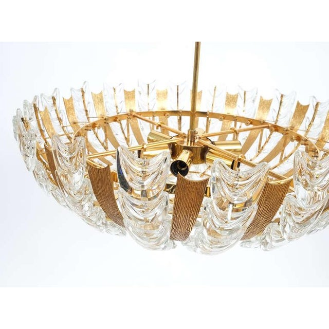 Palwa Large Gold Brass and Glass Chandelier Lamp, 1960 For Sale - Image 6 of 10