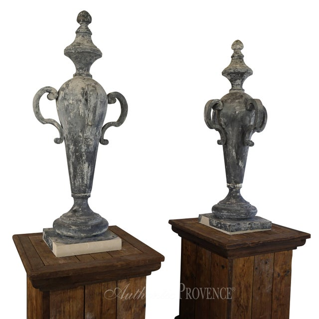 Mid 19th Century 19th Century French Napoleon III Zinc Finial Urns - a Pair For Sale - Image 5 of 11