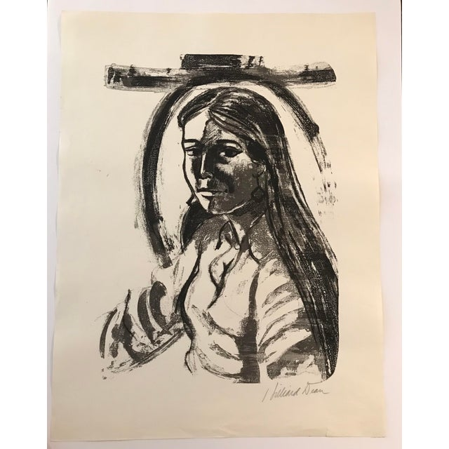 Screen Print 1970s Vintage Hilliard Dean Portrait of a Lady Serigraph For Sale - Image 7 of 7