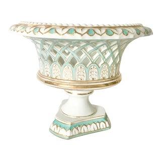 Vintage Porcelain Basket on Pedestal For Sale