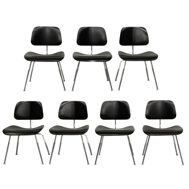 Set of 7 Authentic Eames Herman Miller Dcm Black Ebony Mid Century Dining Chairs - Image 1 of 8