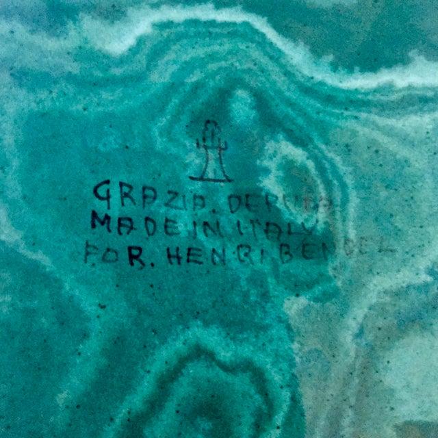 "Dark Green Vintage Italian 12""Malachite Faience Platter-Deruta for Henri Bendel For Sale - Image 8 of 10"