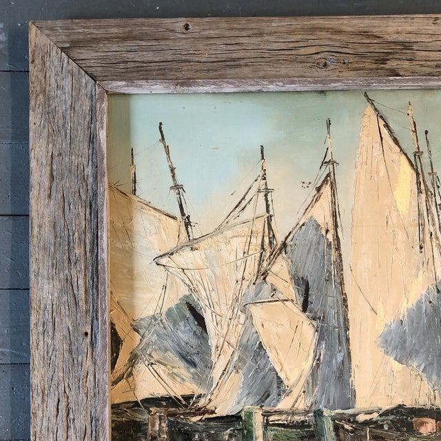 Original Vintage Sail Boats in Harbor Seascape Painting For Sale - Image 4 of 7