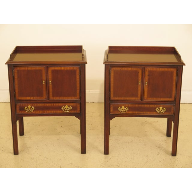 1990s Vintage Drexel Chippendale Style Mahogany Nightstands - A Pair For Sale - Image 12 of 12
