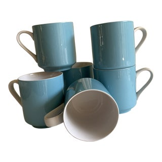 Vintage Set of Six Blue Japanese Ceramic Cups For Sale
