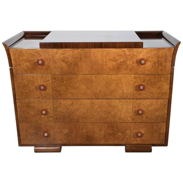 Art Deco Skyscraper Style Chest in Bookmatched Burled Elm, Mahogany and Walnut - Image 11 of 11