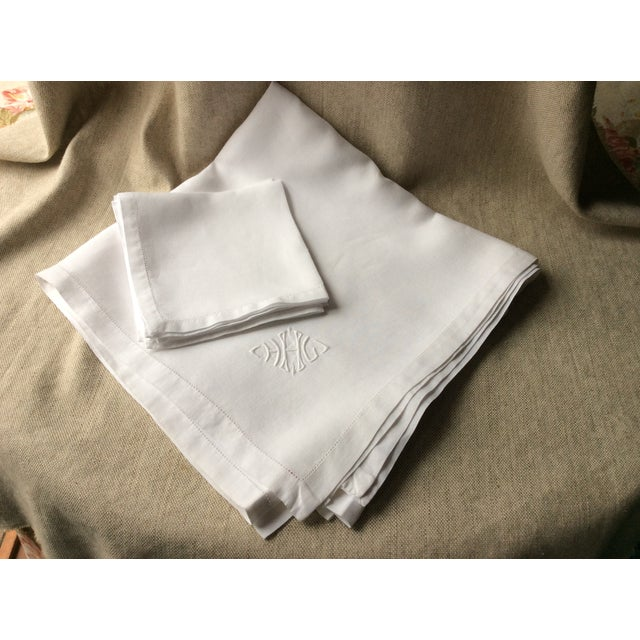 Antique French Tablecloth and Napkins For Sale - Image 9 of 10