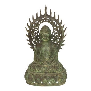 Vintage Seated Meditating Buddha With Fire Ring Halo