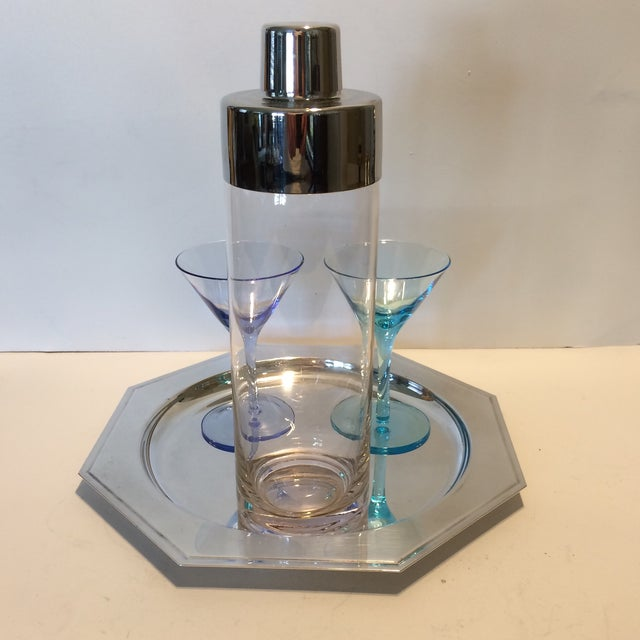 Vintage Martini Shaker with 2 Glasses & Silver Plated Tray Set - Image 5 of 11