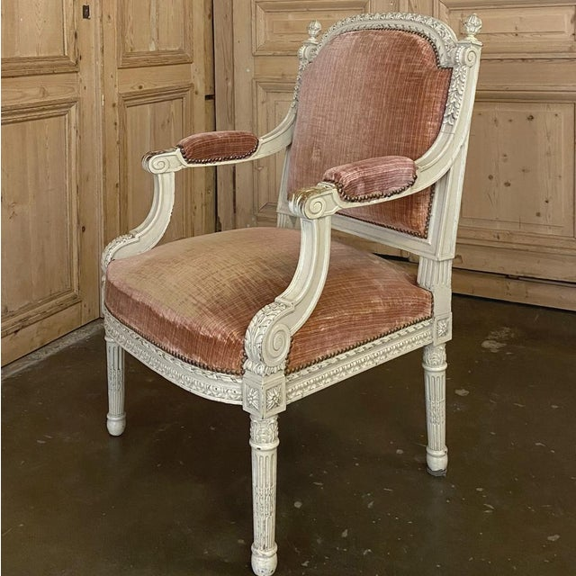 Pair 19th Century French Louis XVI Painted Armchairs ~ Fauteuils For Sale - Image 10 of 13