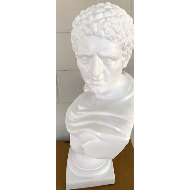 White Italian White Lacquered Terracotta Bust of Apollo For Sale - Image 8 of 11