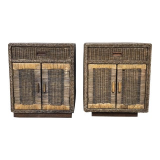Boho Chic Wicker Nightstands - a Pair For Sale