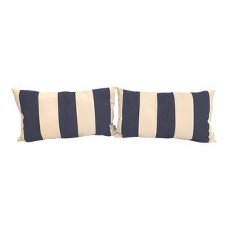Blue & White Cabana Stripe Pillows - a Pair
