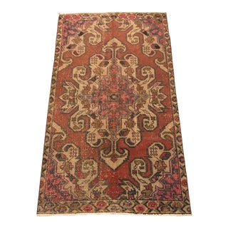 Antique Turkish Wool Rug-3′11″ × 7′1″ For Sale