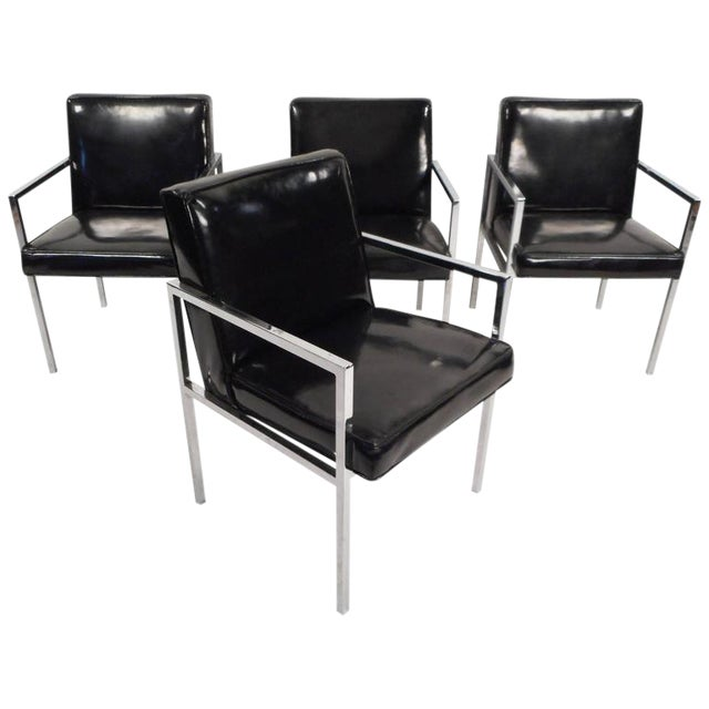Mid-Century Modern Vinyl and Chrome Dining Chairs - Set of 4 - Image 1 of 8