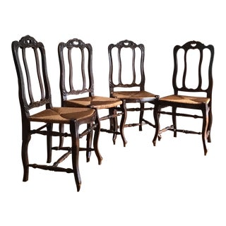 Vintage French Provençal Louis XV Style Carved Oak Wood & Rush Seat Dining Chairs - Set of 4 For Sale