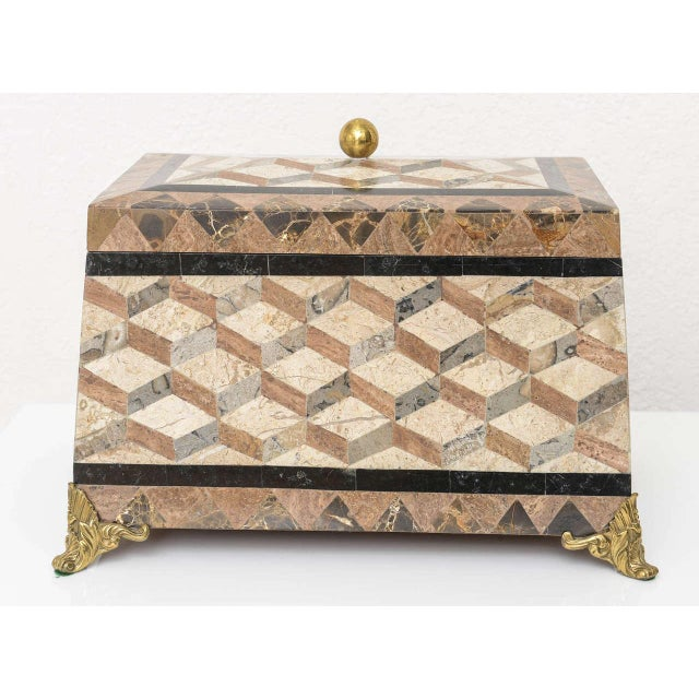 English Regency Revival 1980s Tessellated Stone Box For Sale - Image 10 of 11