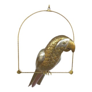 Sergio Bustamante Mixed Metal Parrot Sculpture on a Perch