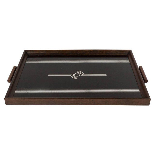 Art Deco Machine Age Streamlined Sterling Silver Glass Tray, Walnut Perimeter For Sale - Image 11 of 11