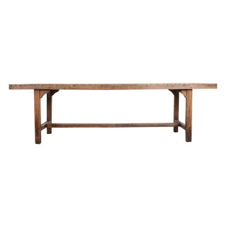 French 19th Century Provincial Oak Farmhouse Trestle Table For Sale