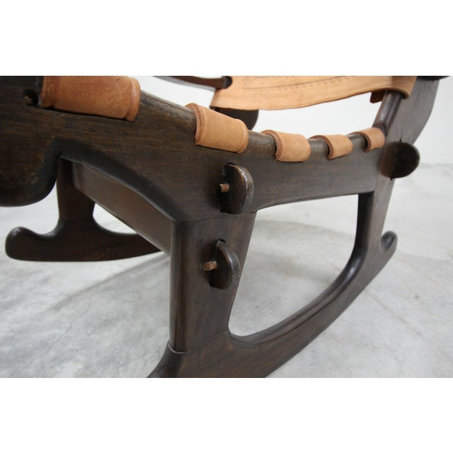 1960s Primitive Style Leather and Wood Rocking Chair Made in Ecuador by Angel Pazmino For Sale - Image 5 of 6