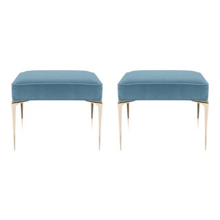 Colette Brass Ottomans in Denim Blue Velvet by Montage, Pair For Sale