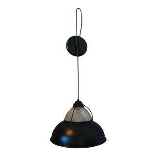 1960s Industrial Modern Farmhouse Black Metal Glass Pendant Light