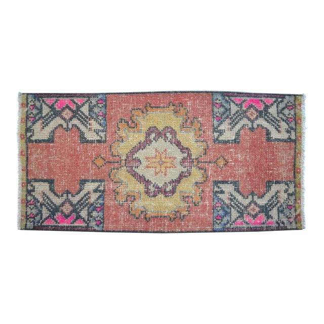 "Hand Made Oushak Rug Mat Distressed Small Rug Kitchen Mat - 1'8"" X 3' For Sale"