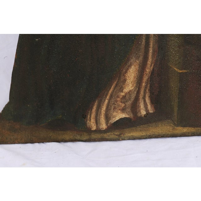 Mid 19th Century Painted Noble Saint on Board Painting For Sale - Image 4 of 5