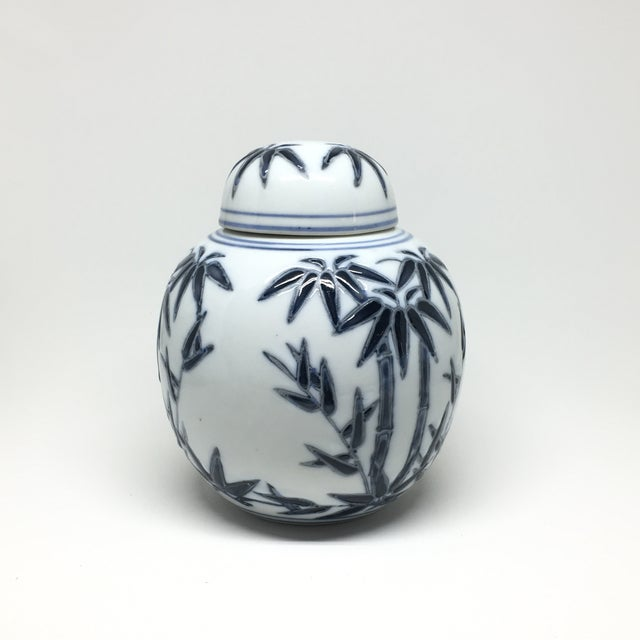 Hand-Painted Navy Bamboo Ginger Jar - Image 4 of 7