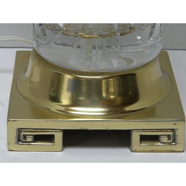 Vintage Brass Greek Key Base & Crystal Lamp For Sale In Milwaukee - Image 6 of 7