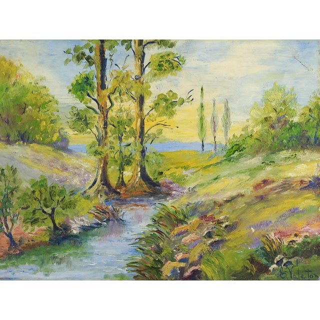 1940's Sunny Day Landscape Painting For Sale - Image 4 of 4