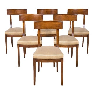 French Directoire Style Walnut Dining Side Chairs, Set of 6 For Sale