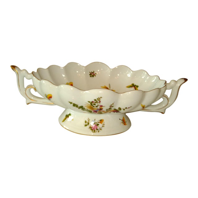 20th Century French White and Gold Centerpiece Bowl For Sale