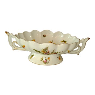 Limoges 20th Century French White and Gold Centerpiece Bowl For Sale