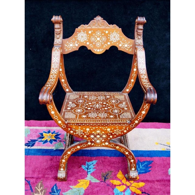 Moroccan Inlaid Savonarola Chair - Image 2 of 11
